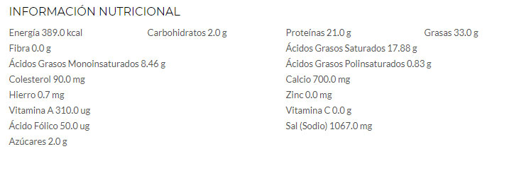 valor nutricional queso stilton